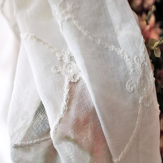 Fleur White Sheer Voile Curtains with Embroidered Trellis and Royal Detailing 6
