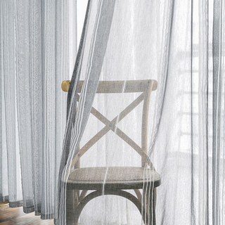 Sheer Curtain Urban Melody Striped Charcoal Grey Voile Curtain 1