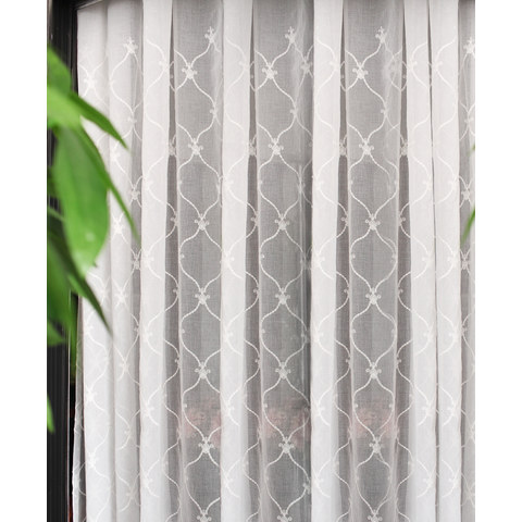 Fleur White Sheer Voile Curtains with Embroidered Trellis and Royal Detailing 3