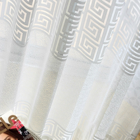 Sheer Curtain Greek Key Ivory White Voile Curtain 2