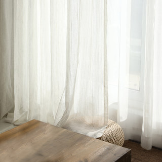 Dreamer Oatmeal Cotton Blended Sheer Voile Curtains 4