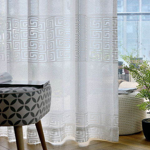 Sheer Curtain Greek Key Ivory White Voile Curtain 1