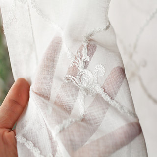 Fleur White Sheer Voile Curtains with Embroidered Trellis and Royal Detailing 7