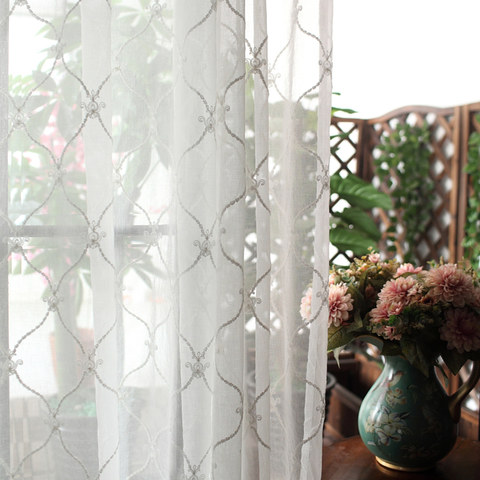 Fleur White Sheer Voile Curtains with Embroidered Trellis and Royal Detailing 1