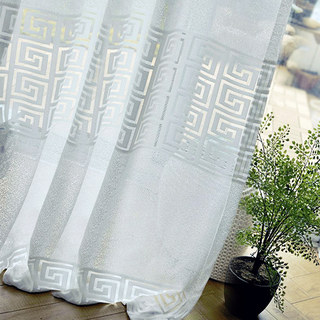 Sheer Curtain Greek Key Ivory White Voile Curtain 5