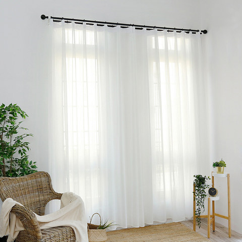 Beatrice Striped White Sheer Voile Curtains 2