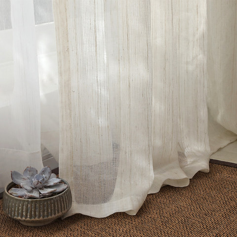 Dreamer Oatmeal Cotton Blended Sheer Voile Curtains 1