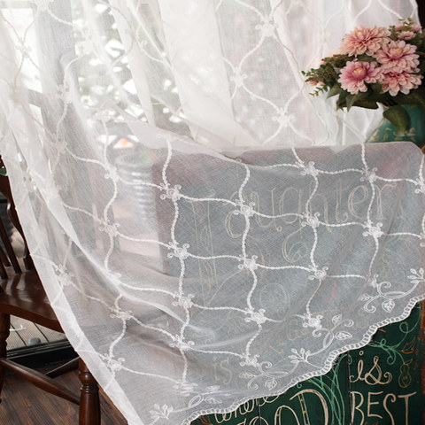 Fleur White Sheer Voile Curtains with Embroidered Trellis and Royal Detailing 4