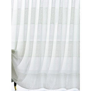 Sheer Curtain Greek Key Ivory White Voile Curtain 6