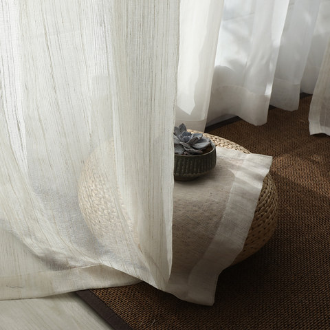 Dreamer Oatmeal Cotton Blended Sheer Voile Curtains 5