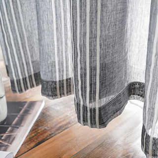 Sheer Curtain Urban Melody Striped Charcoal Grey Voile Curtain 3