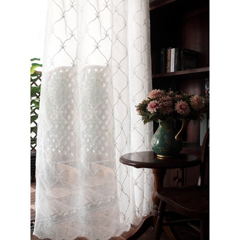 Fleur White Sheer Voile Curtains with Embroidered Trellis and Royal Detailing 2