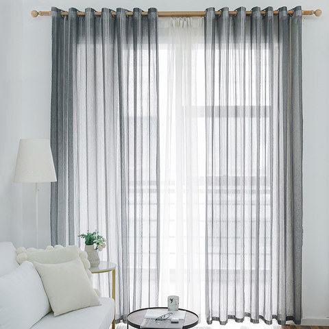 Sheer Curtain Urban Melody Striped Charcoal Grey Voile Curtain 2