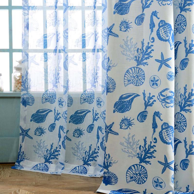 Seaside Spirit Blue Sheer Voile, Sheer Patterned Curtains Uk