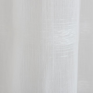 Roma Striped Grid Textured Weaves Sheer White Voile Curtains 6