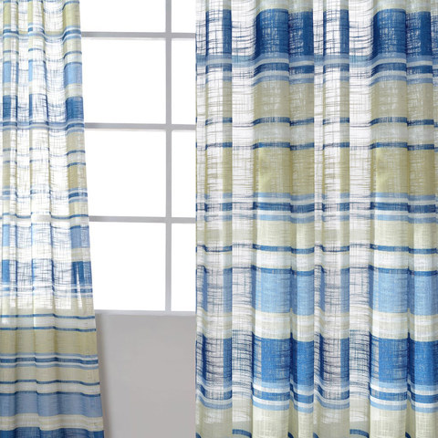 Beach Hut Blue and Yellow Horizontal Striped Semi Sheer Voile Curtain 1