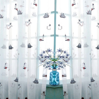 Ahoy Embroidered Sheer Voile Curtain 4