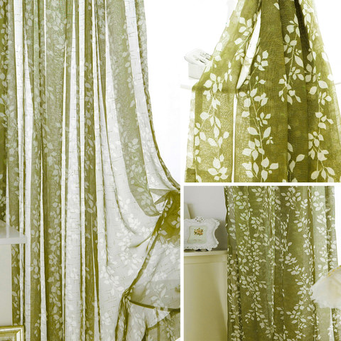 Pascal Olive Green Vine Semi Sheer Voile Curtain 5