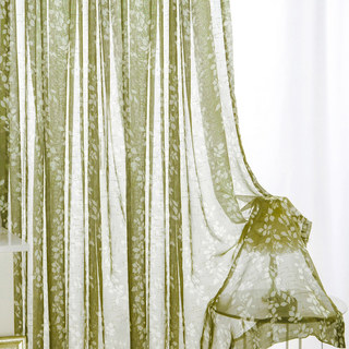 Pascal Olive Green Vine Semi Sheer Voile Curtain 4