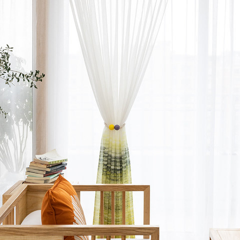 Brush Strokes Yellow Sheer Voile Curtains 2