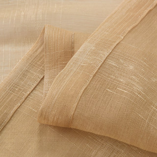 Roma Striped Grid Textured Weaves Gold Sheer Voile Curtains 6