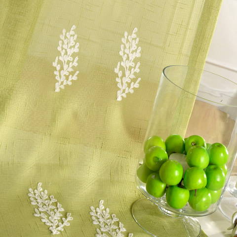 Sheer Curtain Trees of the Four Seasons Chartreuse Green Embroidered Voile Curtain 4