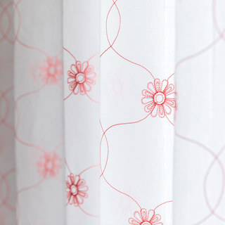Flora Pink Daisy Trellis Embroidered Sheer Voile 4