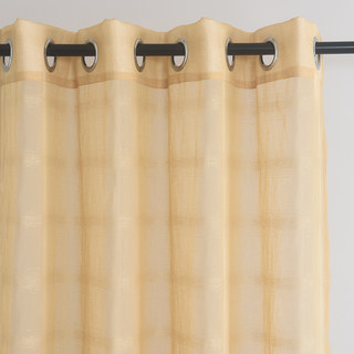 Roma Striped Grid Textured Weaves Gold Sheer Voile Curtains 1