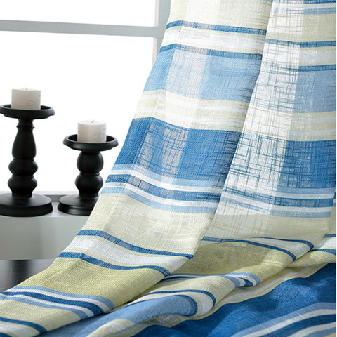 Beach Hut Blue and Yellow Horizontal Striped Semi Sheer Voile Curtain 5