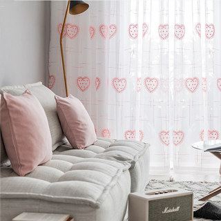 Adored Sheer Voile Curtains with Pink Embroidered Heart Detailing 1