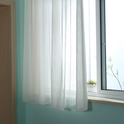 Sheer Curtain Silk Waterfall White Voile Curtain 4