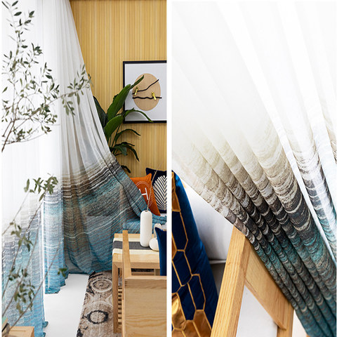 Brush Strokes Blue Sheer Voile Curtains 5