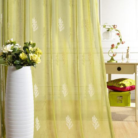 Sheer Curtain Trees of the Four Seasons Chartreuse Green Embroidered Voile Curtain 1