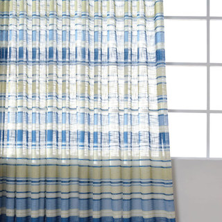 Beach Hut Blue and Yellow Horizontal Striped Semi Sheer Voile Curtain 2