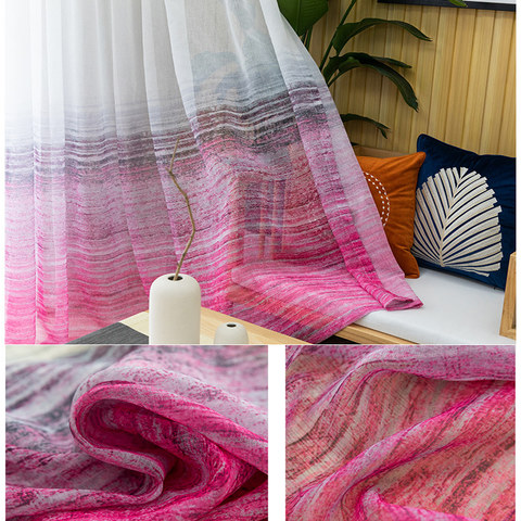Brush Strokes Pink Sheer Voile Curtains 5