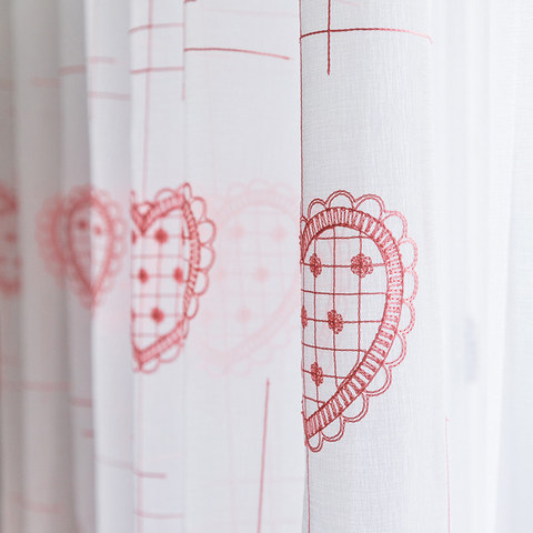 Adored Sheer Voile Curtains with Pink Embroidered Heart Detailing 2