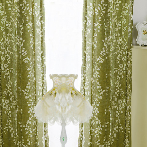 Pascal Olive Green Vine Semi Sheer Voile Curtain 2