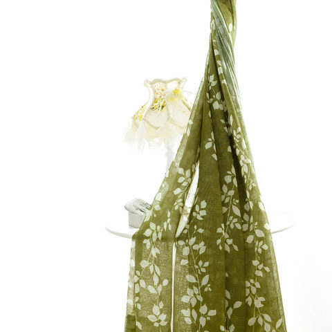 Pascal Olive Green Vine Semi Sheer Voile Curtain 3