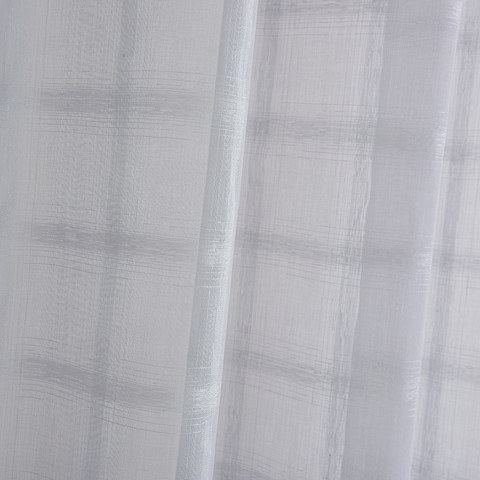 Roma Striped Grid Textured Weaves Grey Sheer Voile Curtains 2
