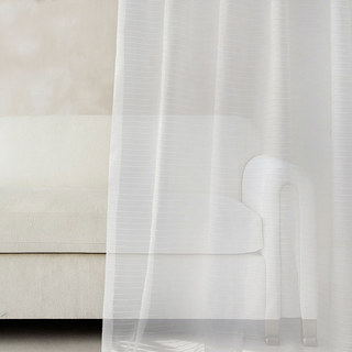 Sheer Curtain Tide Luxury Striped White Voile Curtain 1