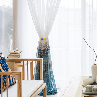 Brush Strokes Blue Sheer Voile Curtains 2
