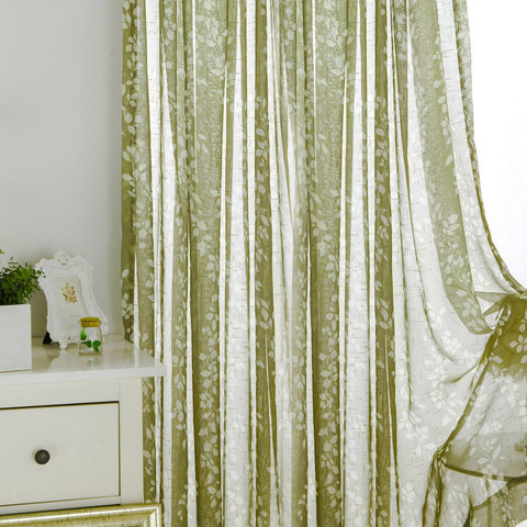 Pascal Olive Green Vine Semi Sheer Voile Curtain 1