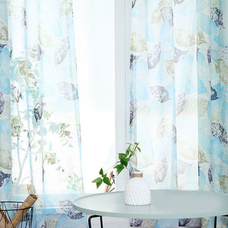 Swaying In The Breeze Blue Block Leaf Print Voile Sheer Curtain 2