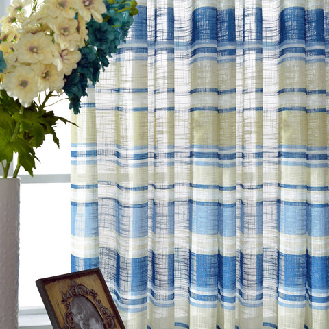 Beach Hut Blue and Yellow Horizontal Striped Semi Sheer Voile Curtain 3
