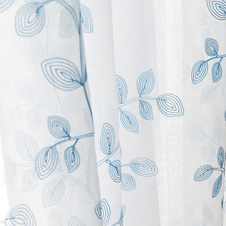 Winter Branches Blue Embroidered Sheer Voile Curtain 4