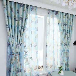 Swaying In The Breeze Blue Block Leaf Print Voile Sheer Curtain 3