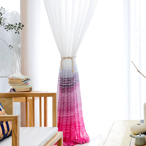 Brush Strokes Pink Sheer Voile Curtains 2