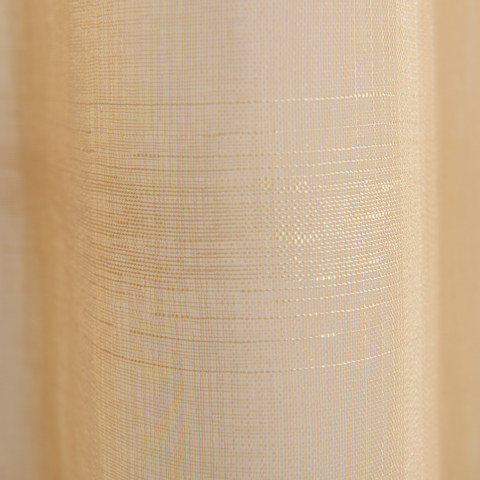 Roma Striped Grid Textured Weaves Gold Sheer Voile Curtains 3