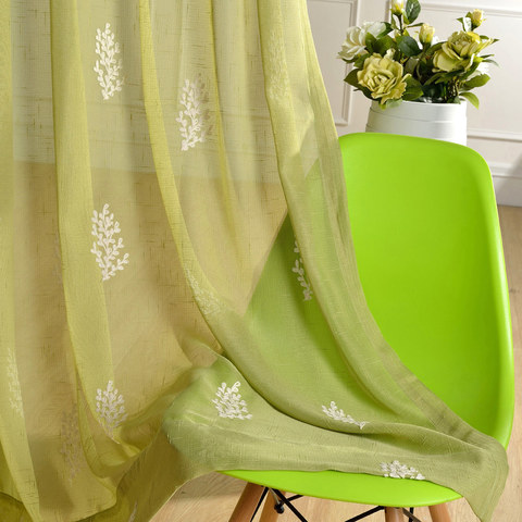 Sheer Curtain Trees of the Four Seasons Chartreuse Green Embroidered Voile Curtain 3
