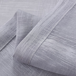 Roma Striped Grid Textured Weaves Grey Sheer Voile Curtains 5